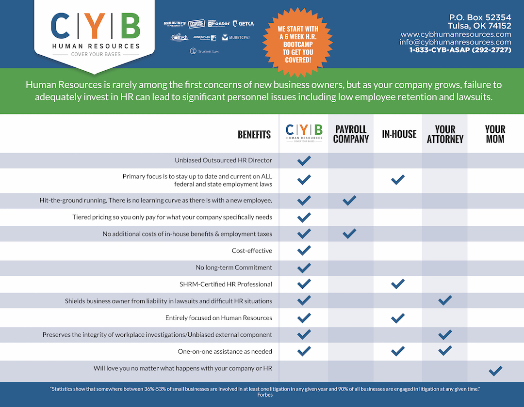 Human Resource Consultant Tulsa |One Sheet Comparison - CYB Human Resources